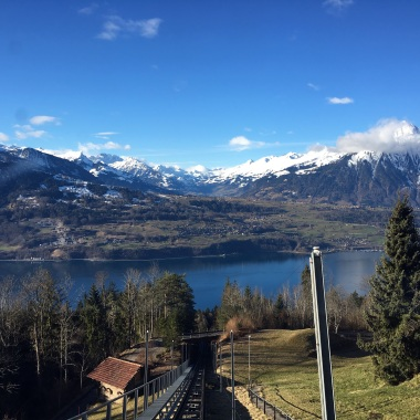 Halfway up the Niederhorn on the cable car