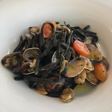 Black tagliolini with clam sauce