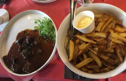 Our [small portion] of beef stew and shared plate of fries