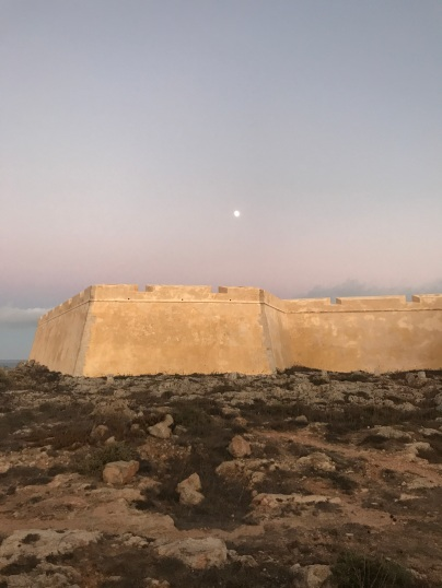 Fort walls after sunset