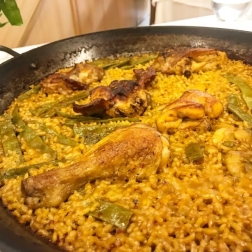 Paella Valenciana - chicken, rabbit, and snails!