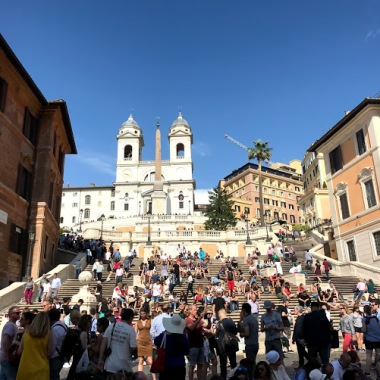 Extremely crowded Spanish steps