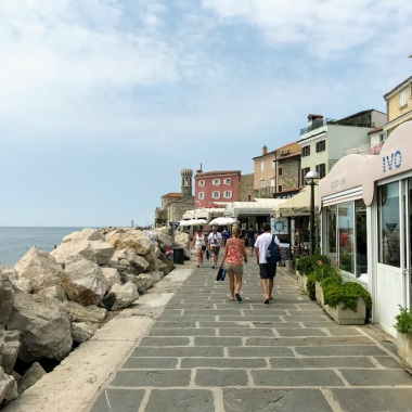 Walking along the Piran waterfront