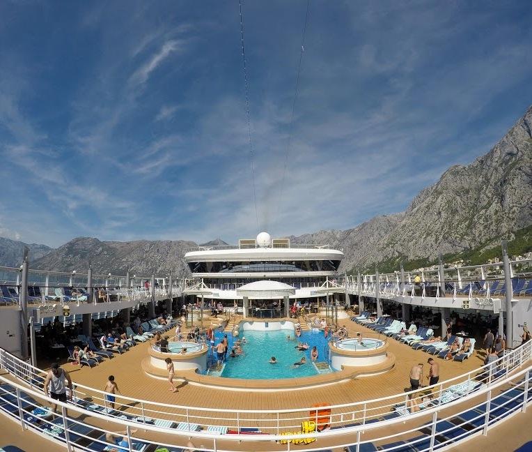 Pool deck (scenery is Montenegro)