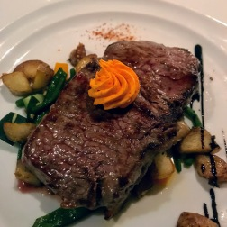 Steak with red pepper butter