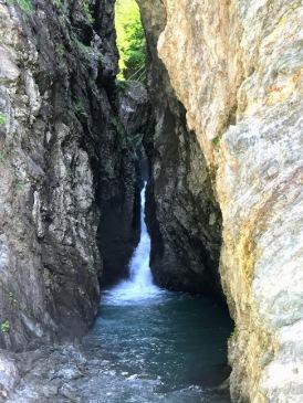 Waterfall creating gorge