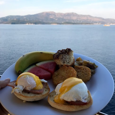 Breakfast as we pulled into Corfu