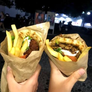 Falafel and pork pita wraps