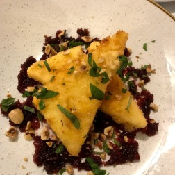 Fried feta with cranberries