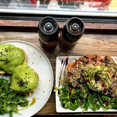 Avocado eggs benedict and salmon avocado toast