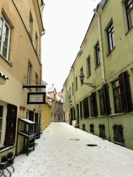 Quiet, snowy street