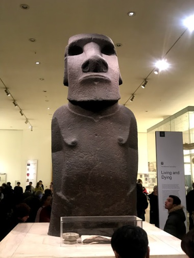Easter Island head inside British Museum